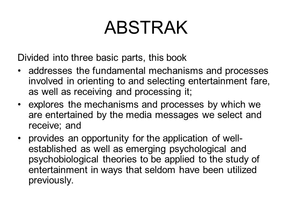 ABSTRAK Divided into three basic parts, this book
