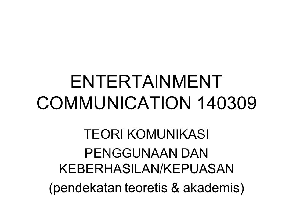 ENTERTAINMENT COMMUNICATION 140309
