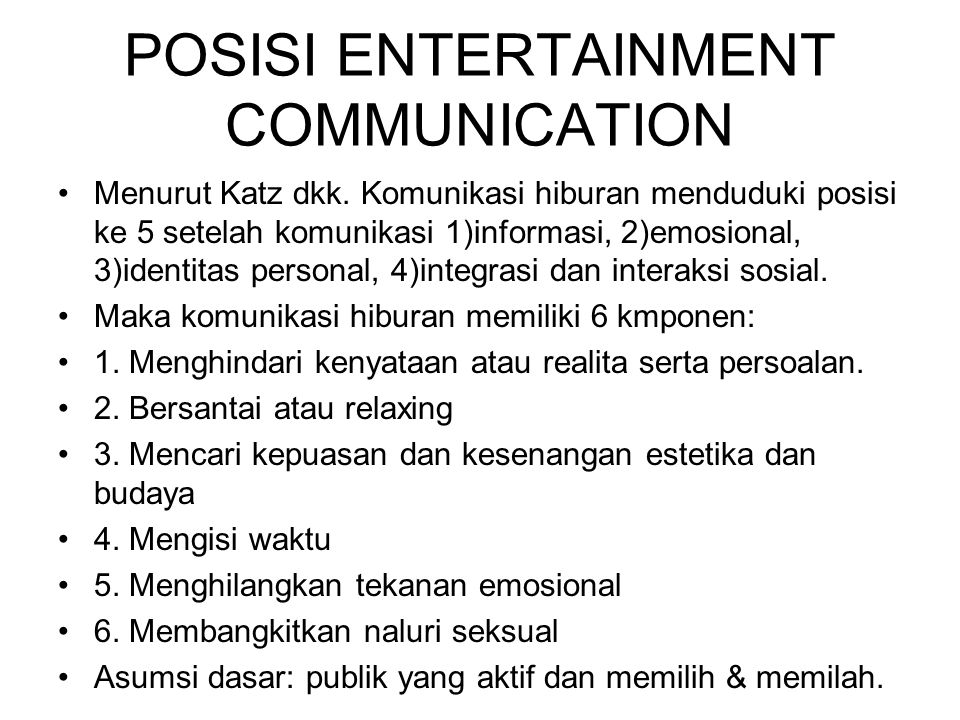 POSISI ENTERTAINMENT COMMUNICATION