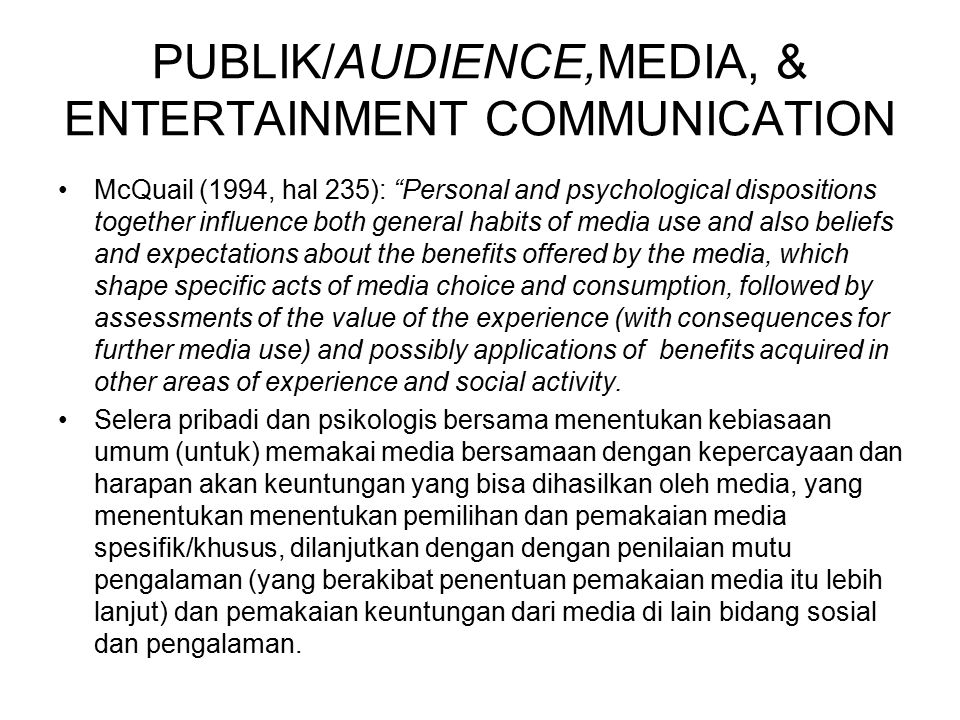 PUBLIK/AUDIENCE,MEDIA, & ENTERTAINMENT COMMUNICATION