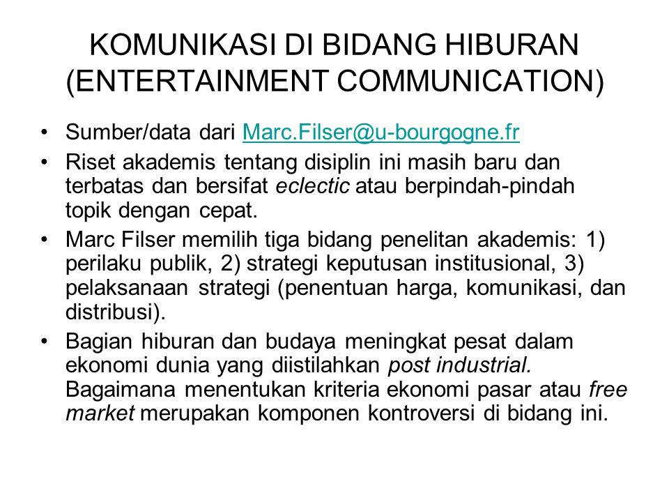 KOMUNIKASI DI BIDANG HIBURAN (ENTERTAINMENT COMMUNICATION)