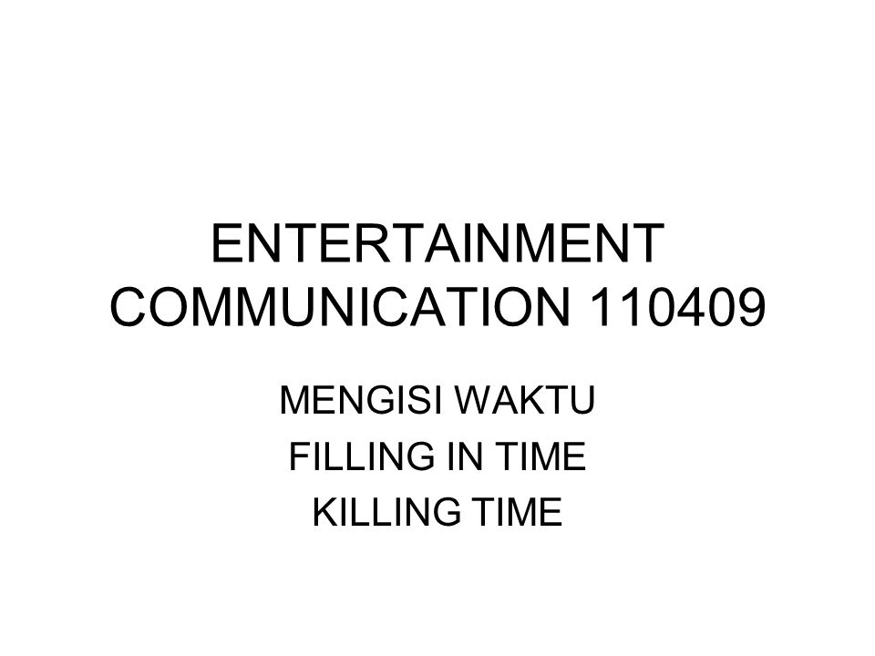 ENTERTAINMENT COMMUNICATION 110409