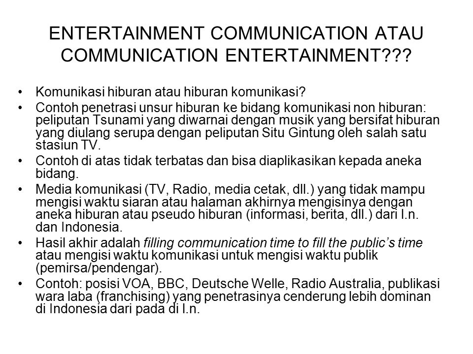 ENTERTAINMENT COMMUNICATION ATAU COMMUNICATION ENTERTAINMENT