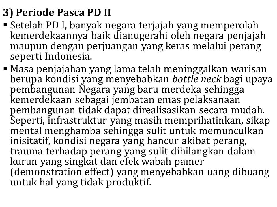 3) Periode Pasca PD II