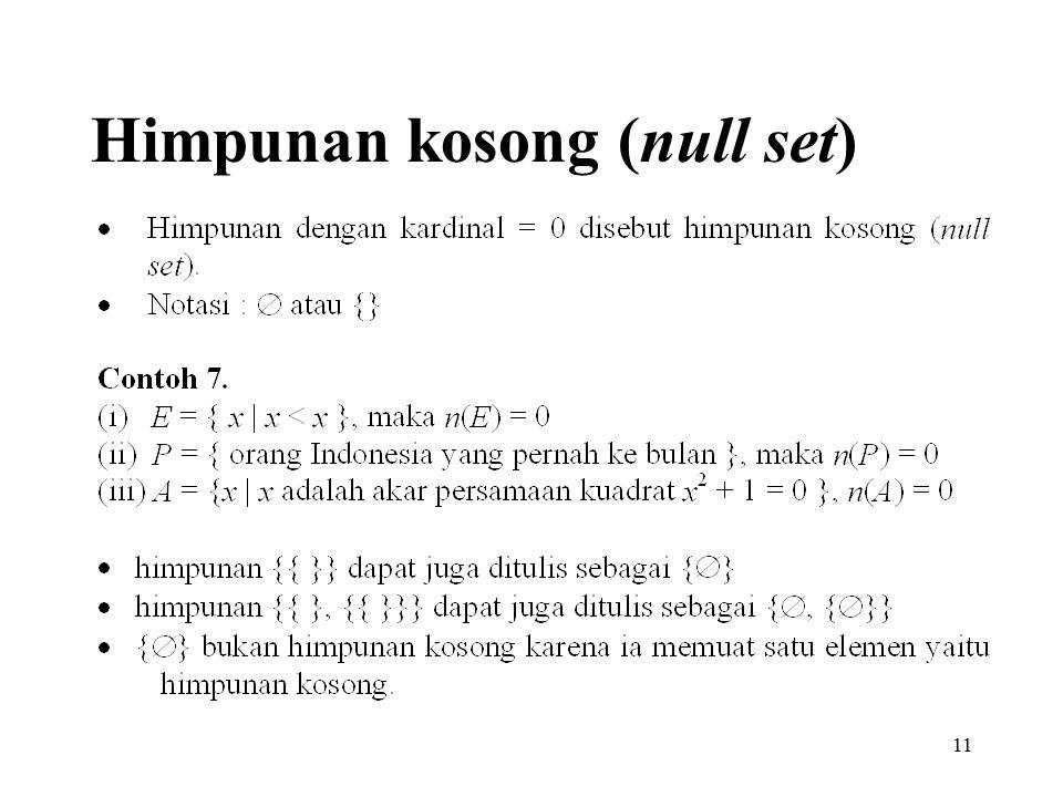 Himpunan kosong (null set)