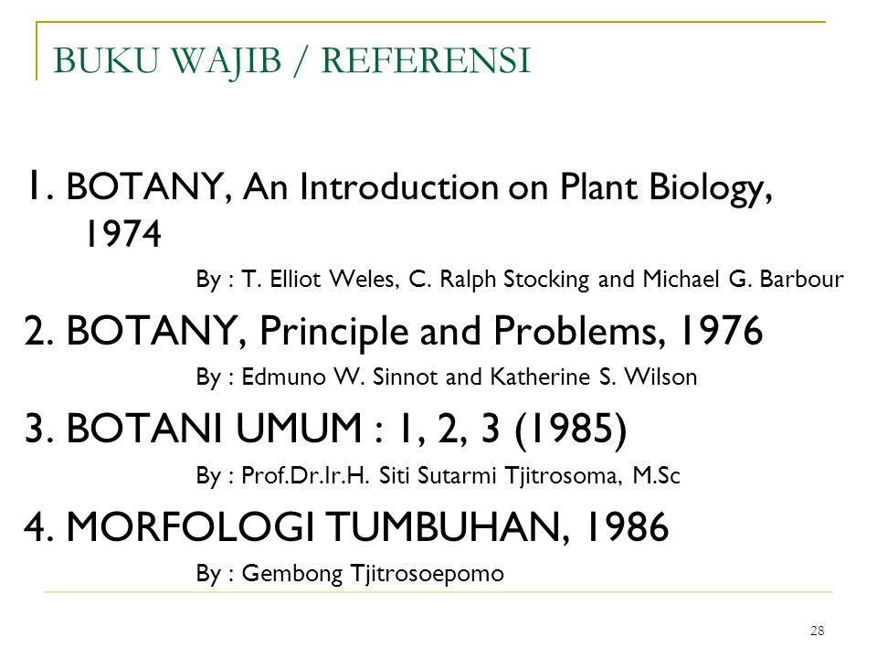 1. BOTANY, An Introduction on Plant Biology, 1974