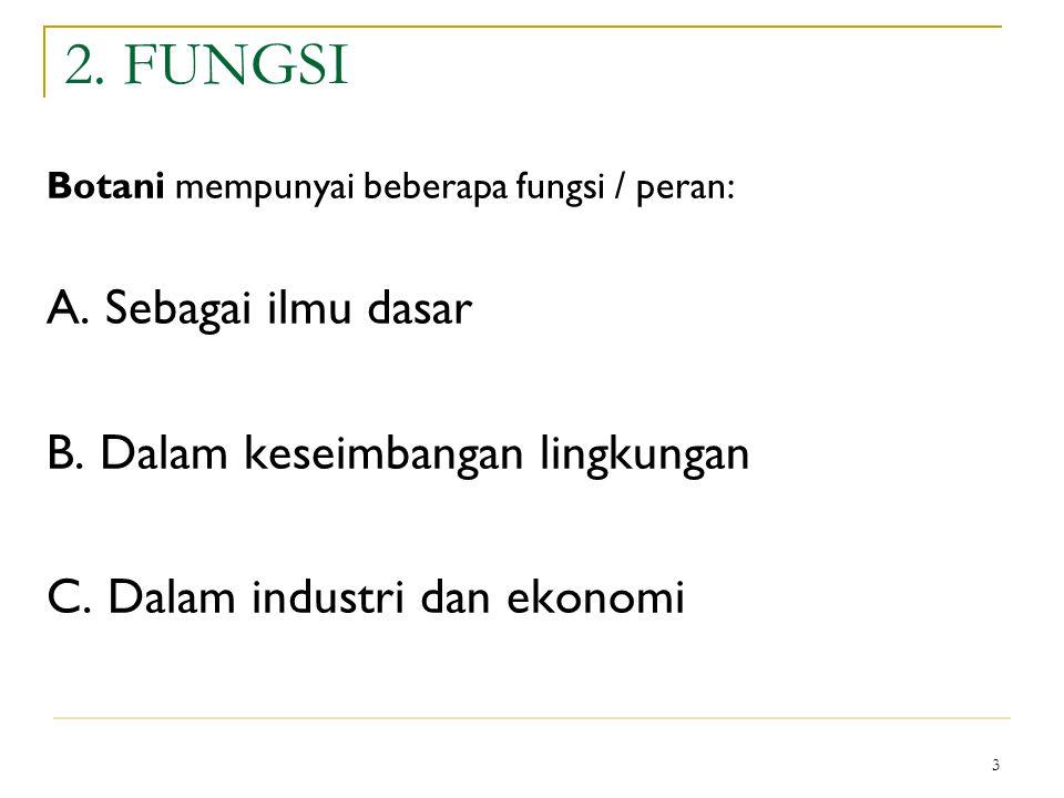 2. FUNGSI A. Sebagai ilmu dasar B. Dalam keseimbangan lingkungan