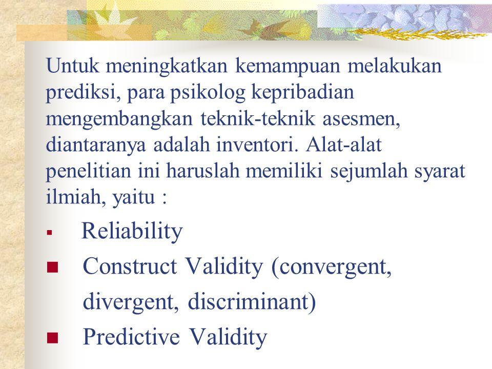 Construct Validity (convergent, divergent, discriminant)