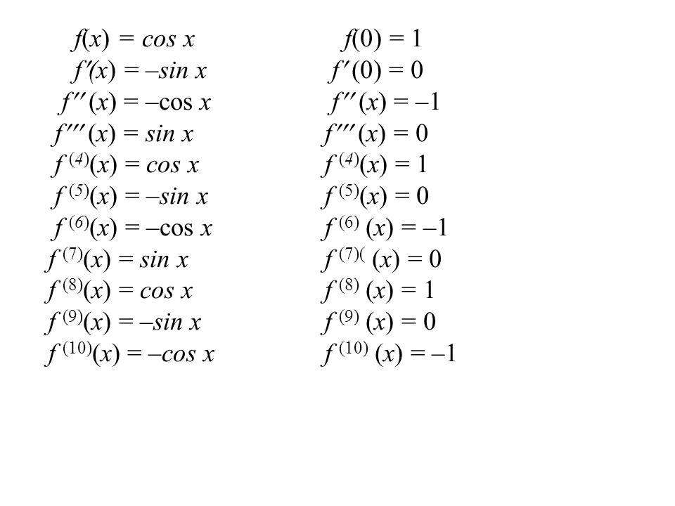 f(x) = cos x f(0) = 1 f(x) = –sin x f (0) = 0. f (x) = –cos x f (x) = –1. f (x) = sin x f (x) = 0.