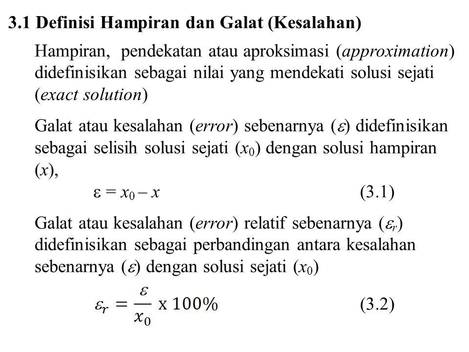 3.1 Definisi Hampiran dan Galat (Kesalahan)