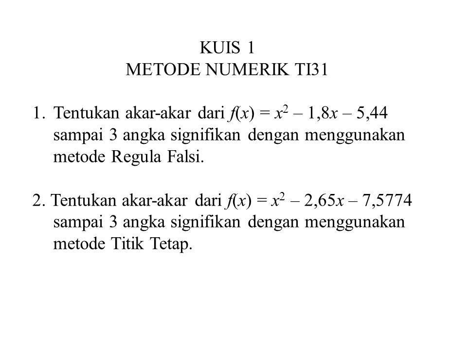 KUIS 1 METODE NUMERIK TI31. Tentukan akar-akar dari f(x) = x2 – 1,8x – 5,44. sampai 3 angka signifikan dengan menggunakan.