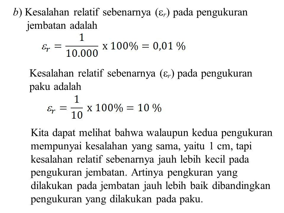 b) Kesalahan relatif sebenarnya (r) pada pengukuran