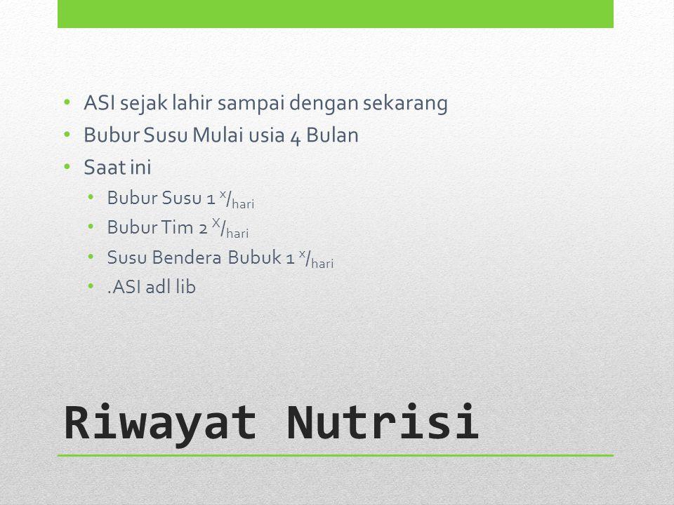 Riwayat Nutrisi ASI sejak lahir sampai dengan sekarang