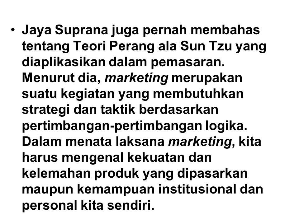 Jaya Suprana juga pernah membahas tentang Teori Perang ala Sun Tzu yang diaplikasikan dalam pemasaran.