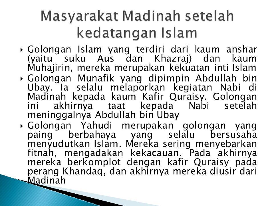 Masyarakat Madinah setelah kedatangan Islam