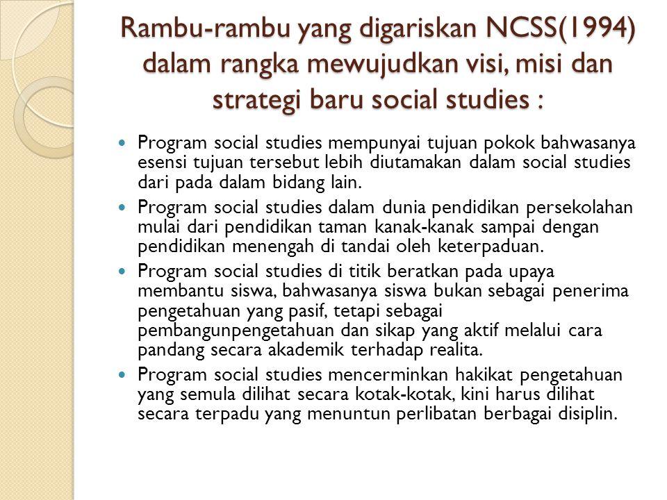 Rambu-rambu yang digariskan NCSS(1994) dalam rangka mewujudkan visi, misi dan strategi baru social studies :