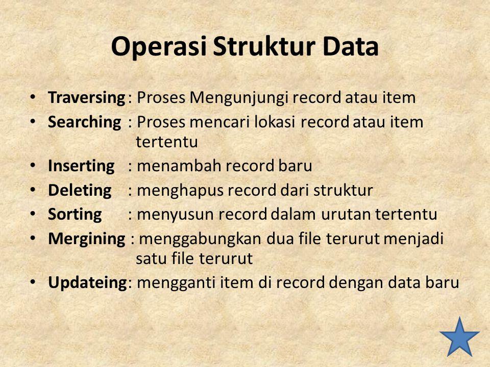 Operasi Struktur Data Traversing : Proses Mengunjungi record atau item