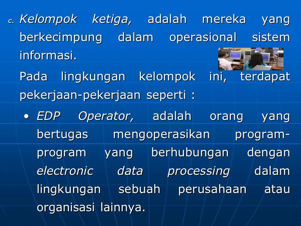 Kelompok ketiga, adalah mereka yang berkecimpung dalam operasional sistem informasi.