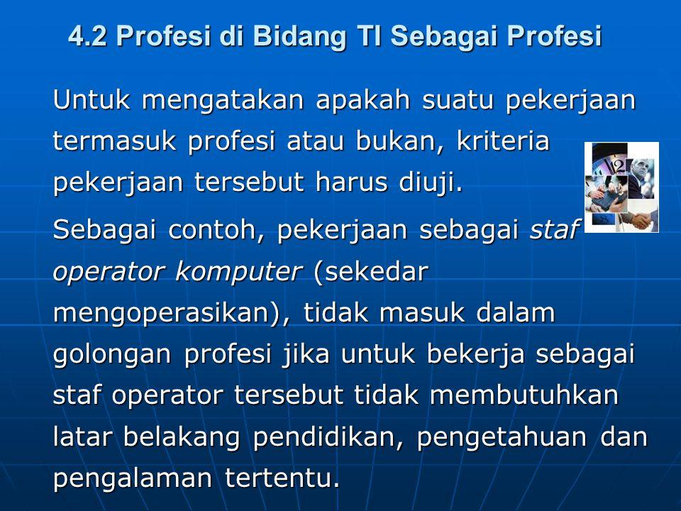 4.2 Profesi di Bidang TI Sebagai Profesi