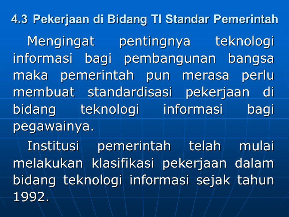 4.3 Pekerjaan di Bidang TI Standar Pemerintah