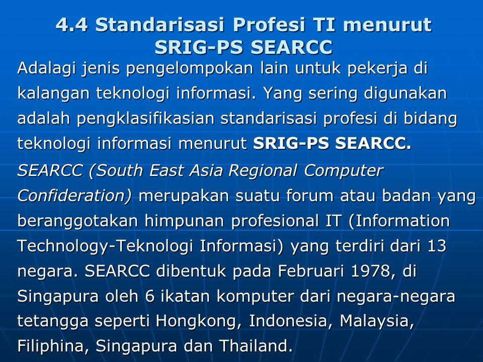 4.4 Standarisasi Profesi TI menurut SRIG-PS SEARCC
