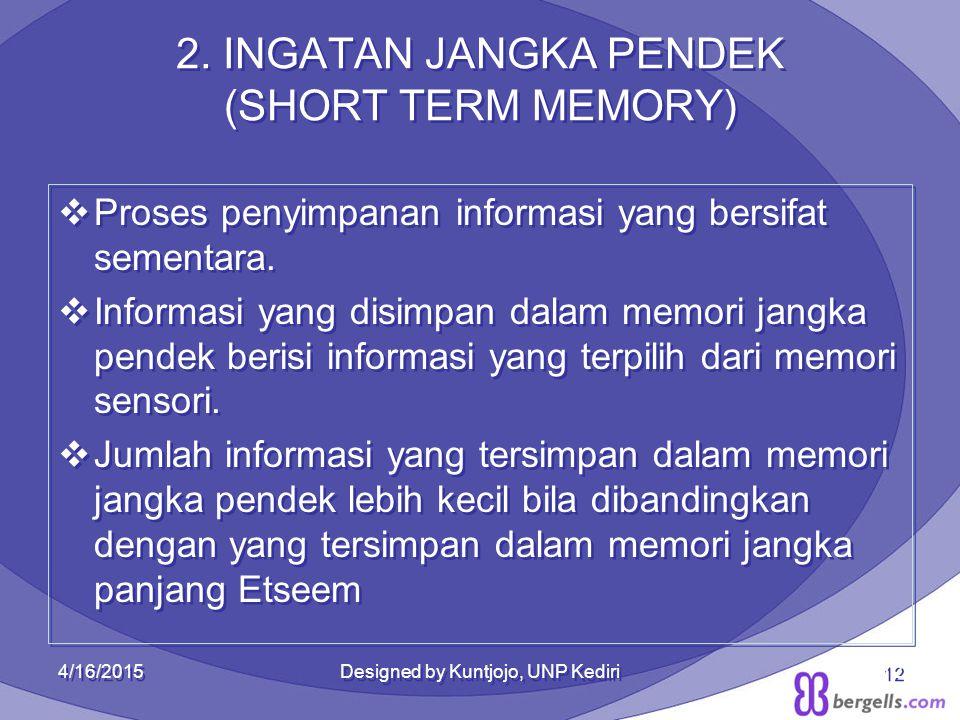 2. INGATAN JANGKA PENDEK (SHORT TERM MEMORY)