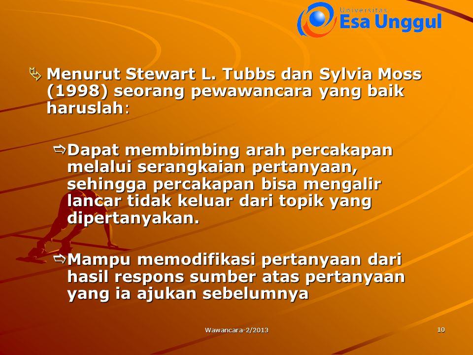 Menurut Stewart L. Tubbs dan Sylvia Moss (1998) seorang pewawancara yang baik haruslah: