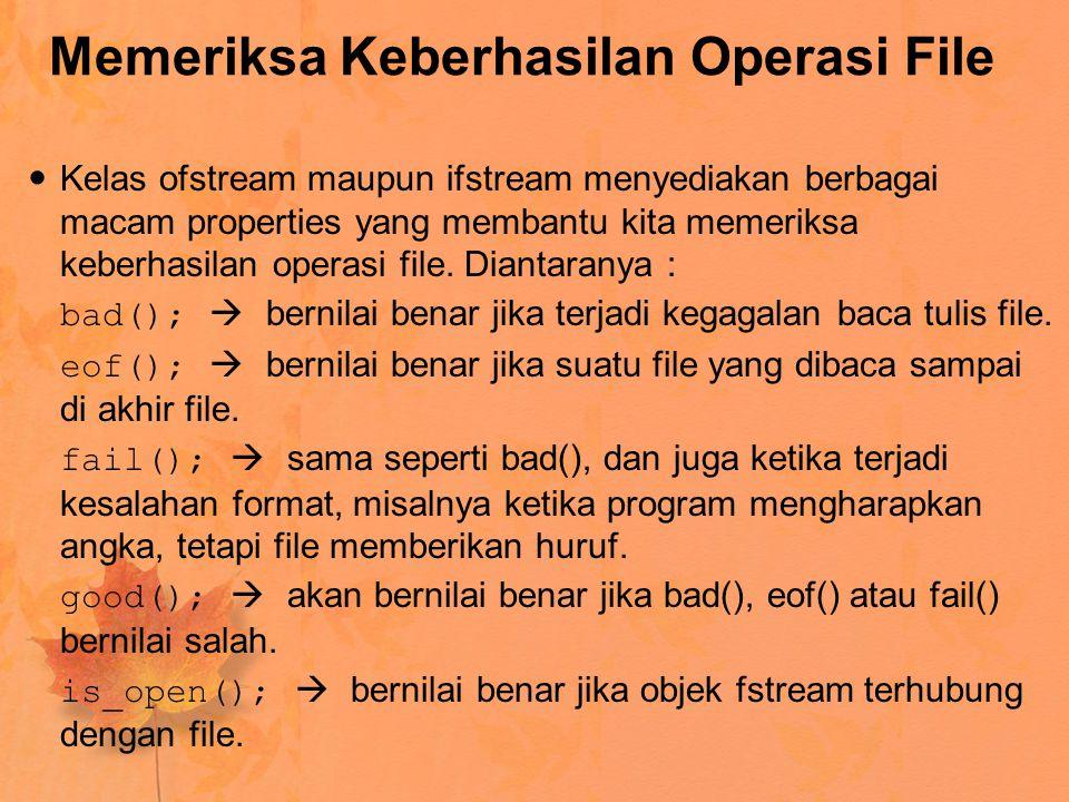 Memeriksa Keberhasilan Operasi File