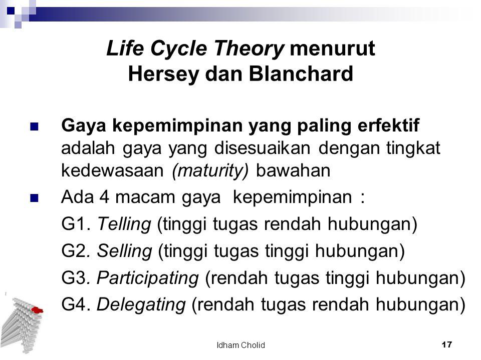 Life Cycle Theory menurut Hersey dan Blanchard