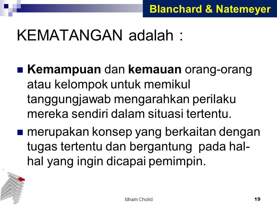 Blanchard & Natemeyer KEMATANGAN adalah :