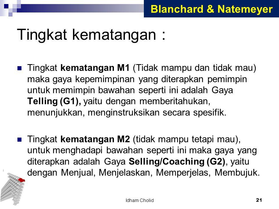 Tingkat kematangan : Blanchard & Natemeyer