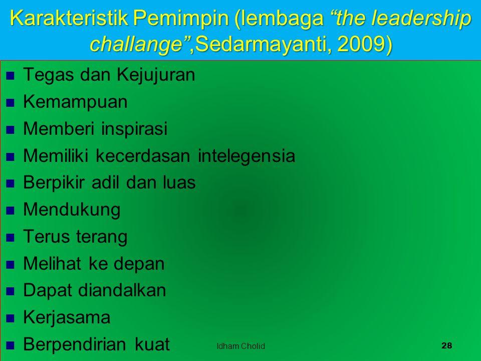 Karakteristik Pemimpin (lembaga the leadership challange ,Sedarmayanti, 2009)