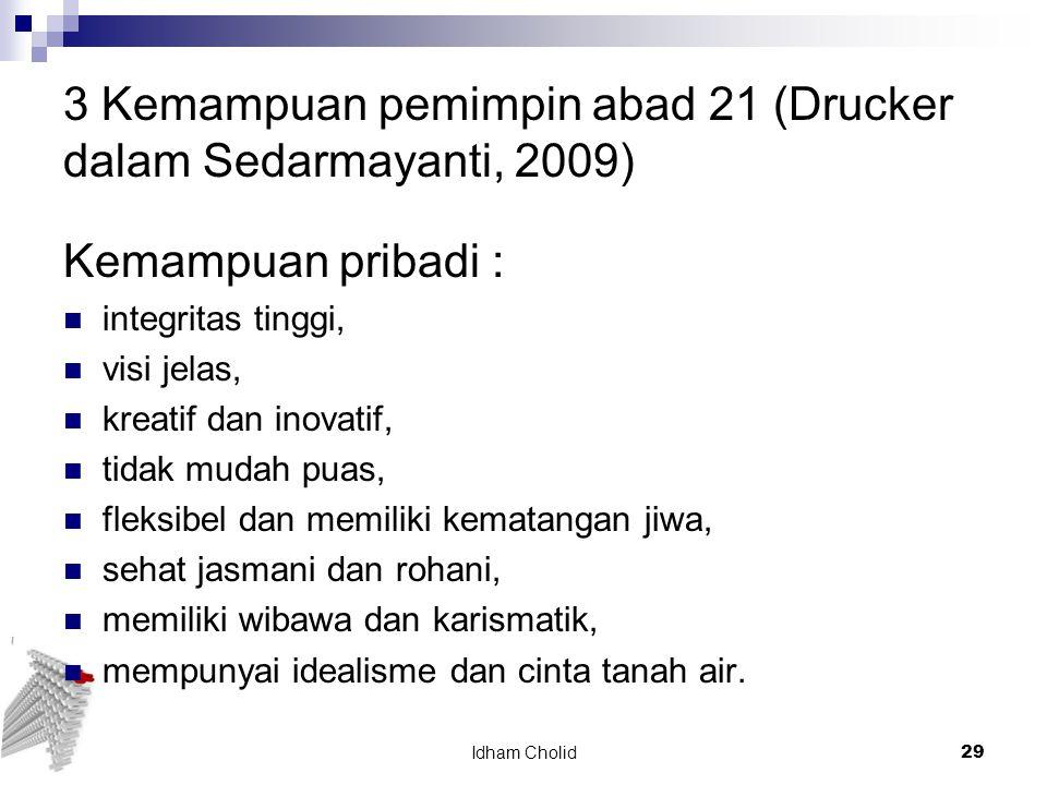 3 Kemampuan pemimpin abad 21 (Drucker dalam Sedarmayanti, 2009)