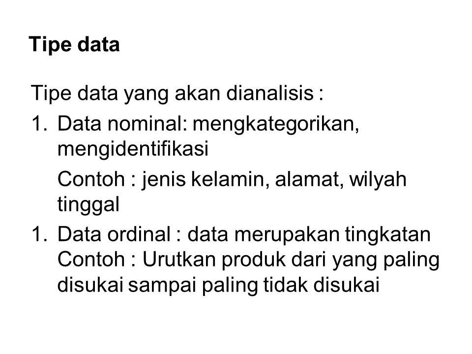 Tipe data Tipe data yang akan dianalisis : Data nominal: mengkategorikan, mengidentifikasi. Contoh : jenis kelamin, alamat, wilyah tinggal.