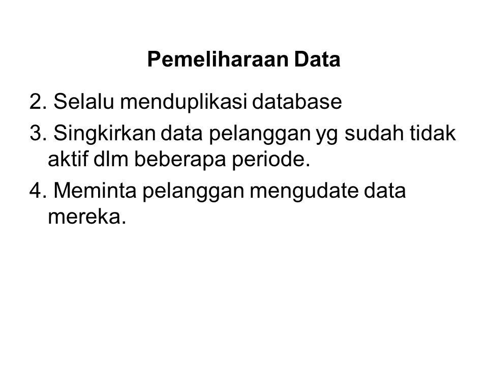 Pemeliharaan Data 2. Selalu menduplikasi database. 3. Singkirkan data pelanggan yg sudah tidak aktif dlm beberapa periode.