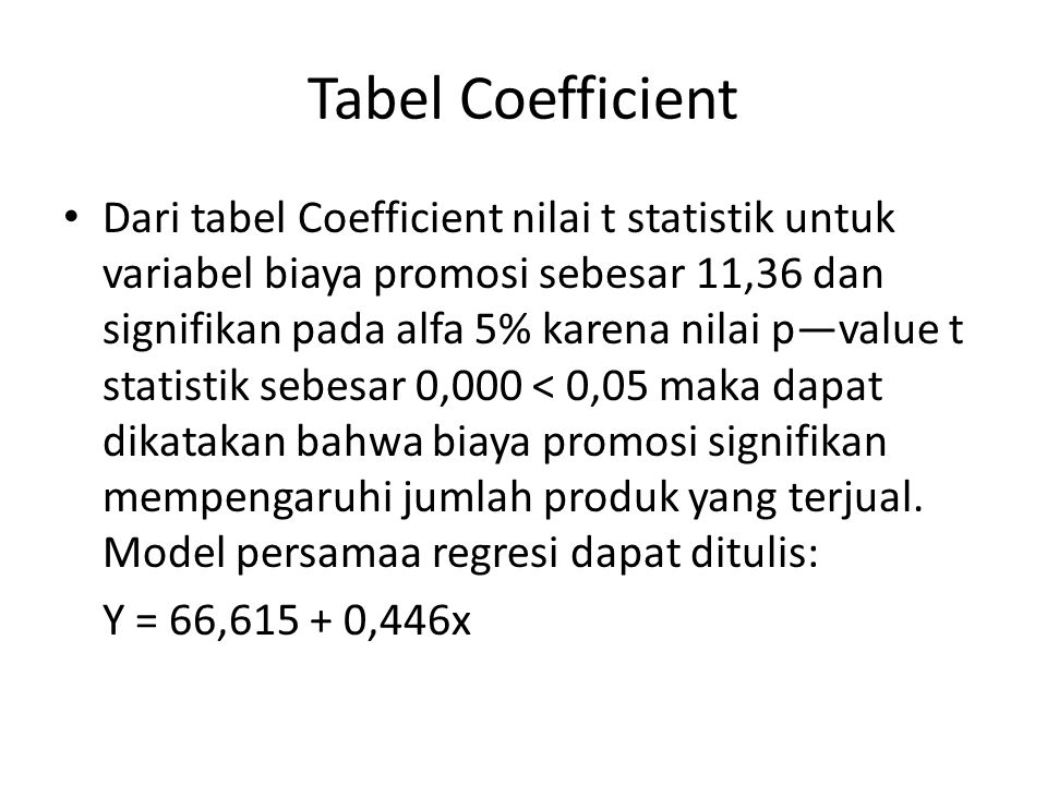 Tabel Coefficient