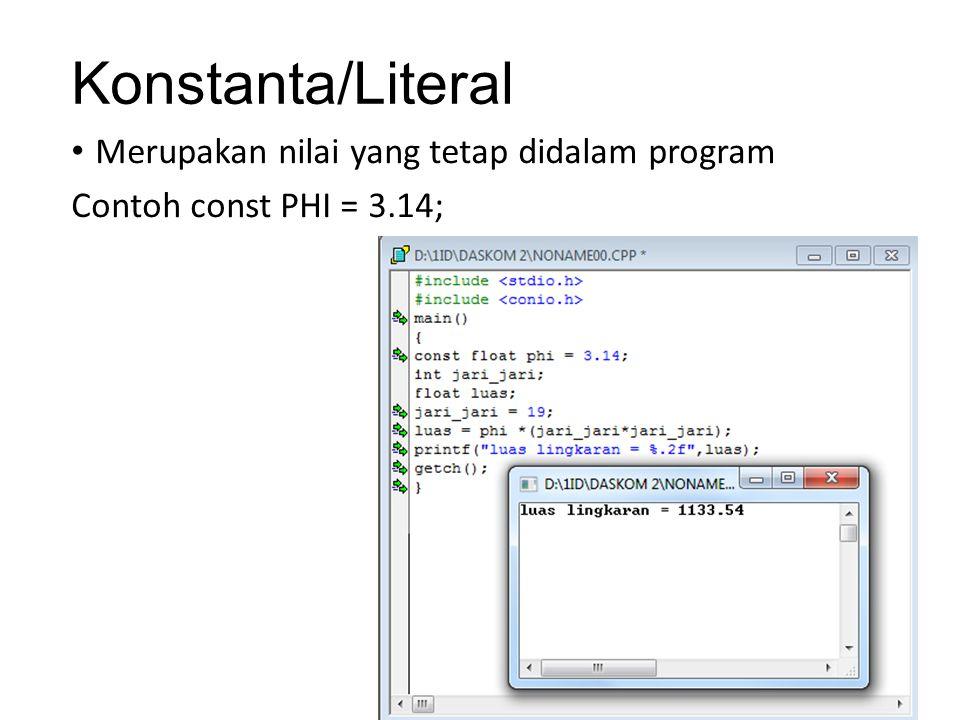 Konstanta/Literal Merupakan nilai yang tetap didalam program