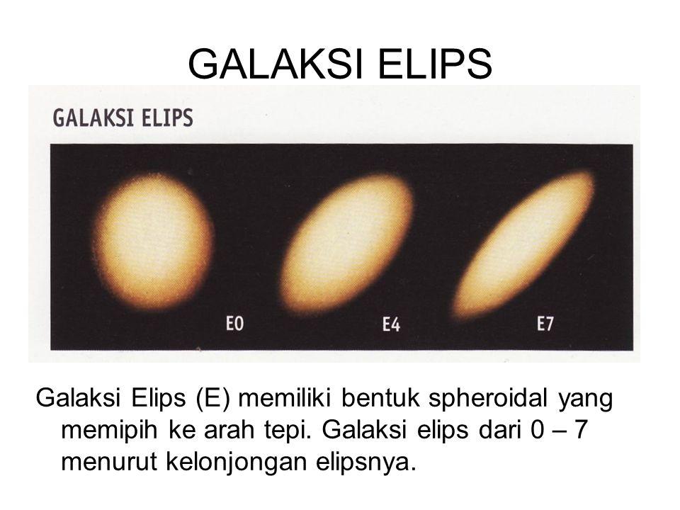 GALAKSI ELIPS Galaksi Elips (E) memiliki bentuk spheroidal yang memipih ke arah tepi.