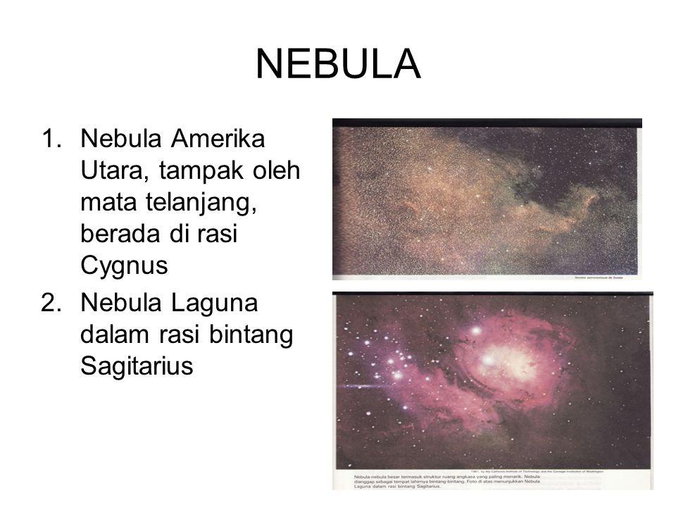 NEBULA Nebula Amerika Utara, tampak oleh mata telanjang, berada di rasi Cygnus.