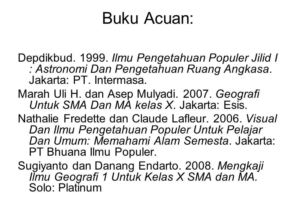 Buku Acuan: Depdikbud. 1999. Ilmu Pengetahuan Populer Jilid I : Astronomi Dan Pengetahuan Ruang Angkasa. Jakarta: PT. Intermasa.