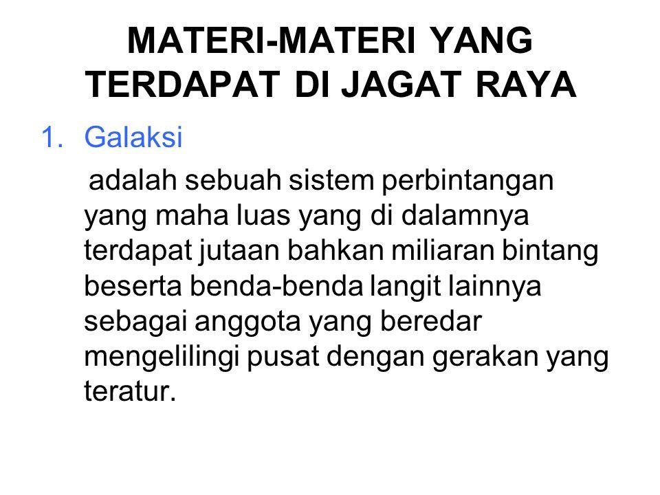 MATERI-MATERI YANG TERDAPAT DI JAGAT RAYA
