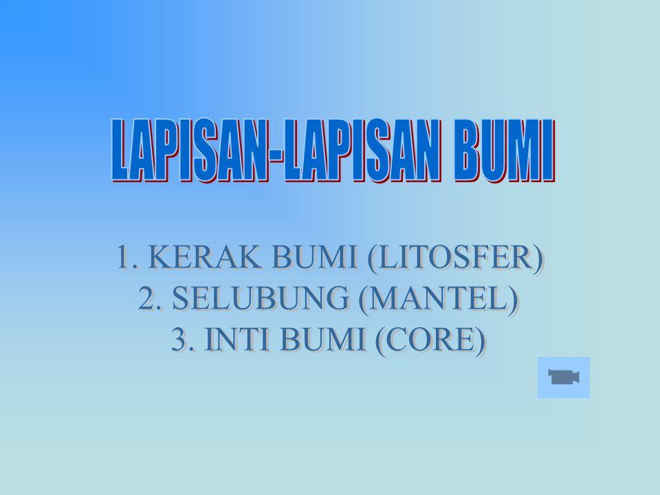 LAPISAN-LAPISAN BUMI 1. KERAK BUMI (LITOSFER) 2. SELUBUNG (MANTEL) 3. INTI BUMI (CORE)
