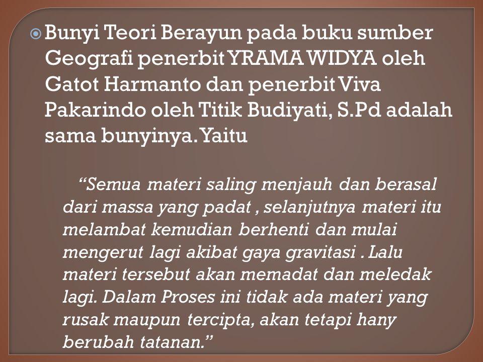 Bunyi Teori Berayun pada buku sumber Geografi penerbit YRAMA WIDYA oleh Gatot Harmanto dan penerbit Viva Pakarindo oleh Titik Budiyati, S.Pd adalah sama bunyinya. Yaitu