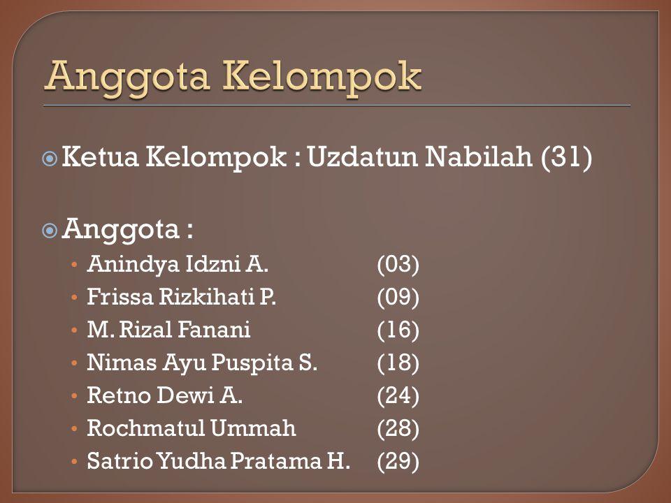Anggota Kelompok Ketua Kelompok : Uzdatun Nabilah (31) Anggota :