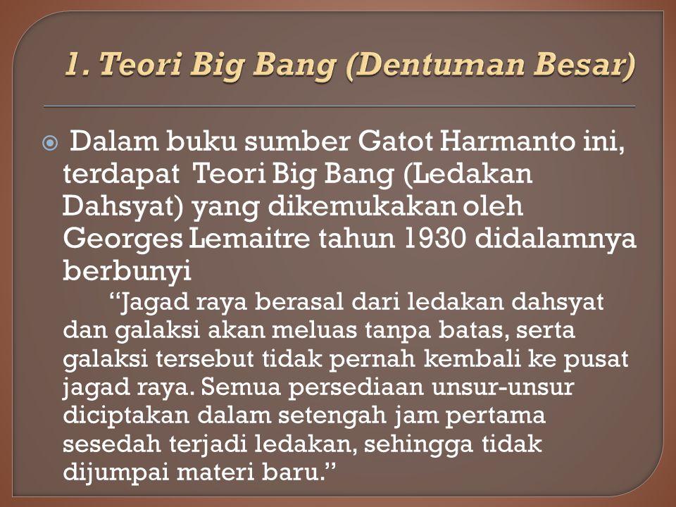 1. Teori Big Bang (Dentuman Besar)