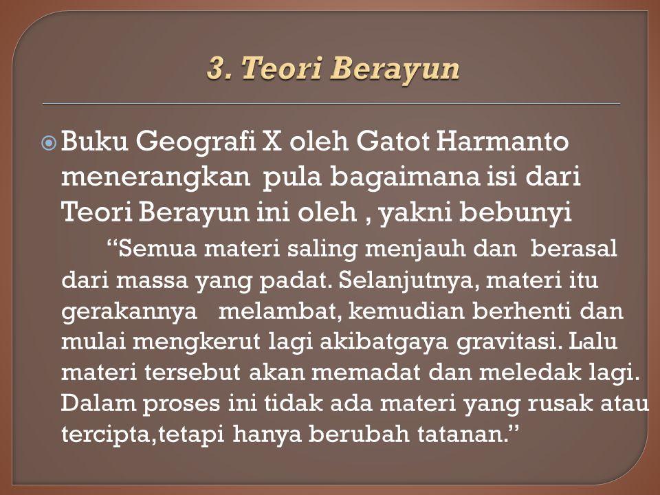 3. Teori Berayun Buku Geografi X oleh Gatot Harmanto menerangkan pula bagaimana isi dari Teori Berayun ini oleh , yakni bebunyi.