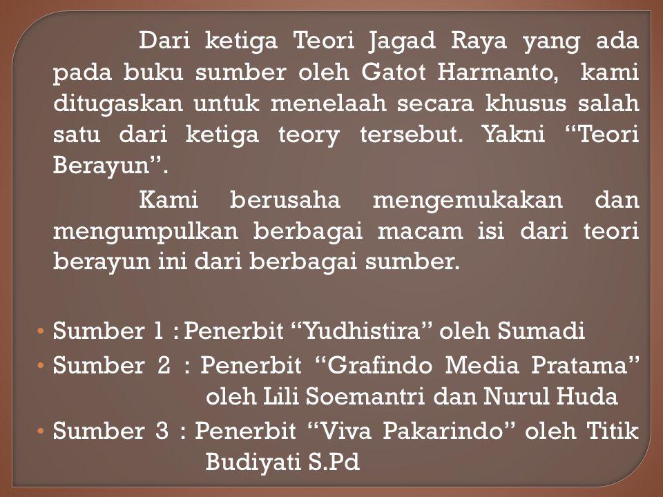 Dari ketiga Teori Jagad Raya yang ada pada buku sumber oleh Gatot Harmanto, kami ditugaskan untuk menelaah secara khusus salah satu dari ketiga teory tersebut. Yakni Teori Berayun .