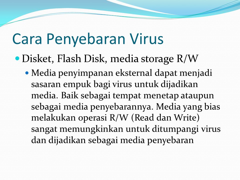 Cara Penyebaran Virus Disket, Flash Disk, media storage R/W
