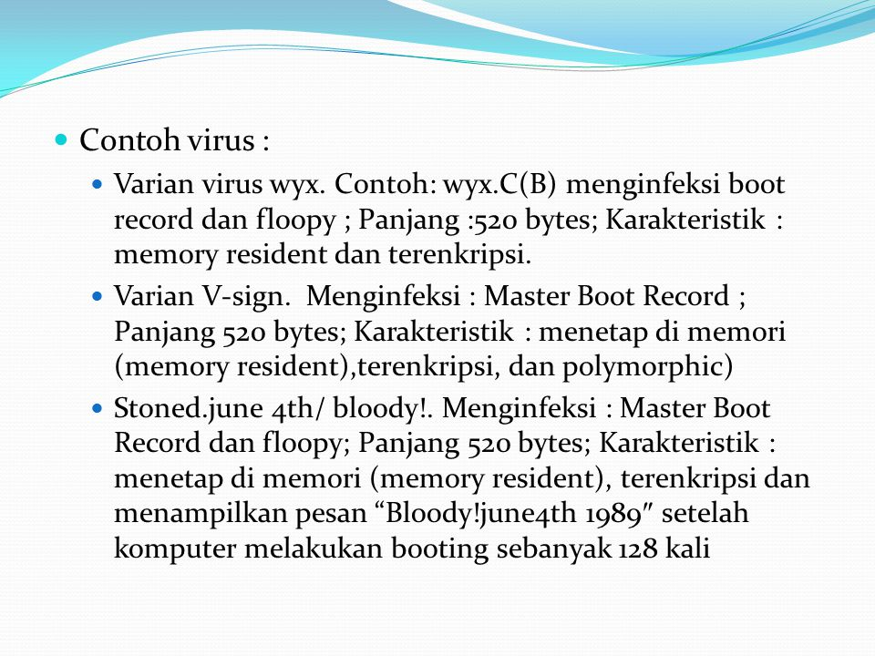 Contoh virus :
