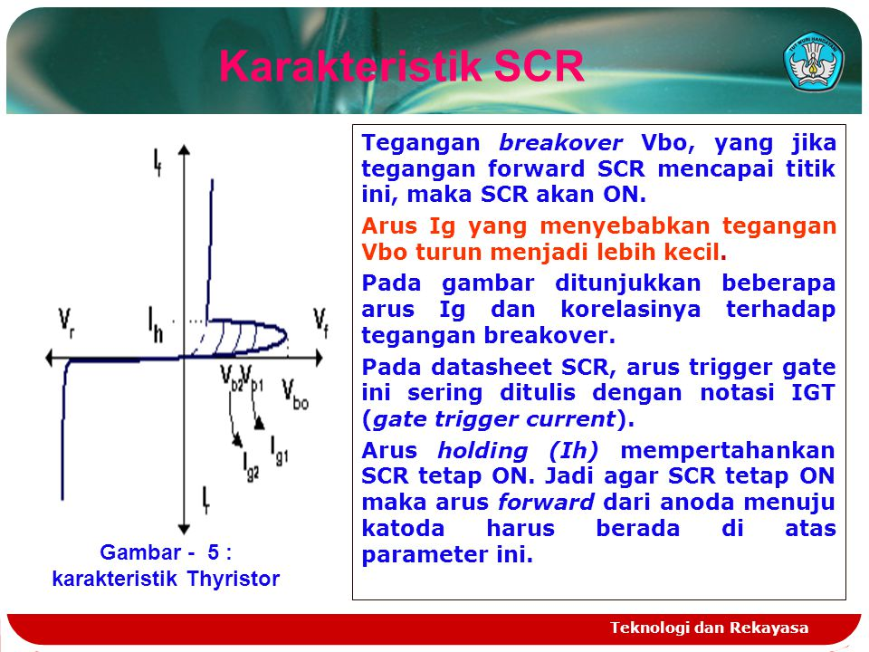 Gambar - 5 : karakteristik Thyristor